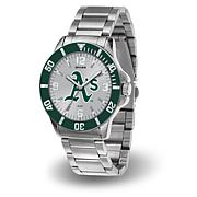 "MLB Sparo ""Key"" Team Logo Stainless Steel Bracelet Watch - Athletics"