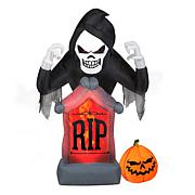 National Tree Company 6' Inflatable Reaper with Tombstone and LED L...