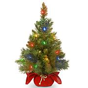 National Tree Majestic Spruce Tree in Red Cloth Bag w 35 Multi LEDs
