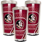 NCAA Acrylic & Stainless Steel 3-piece Shot Glass Set