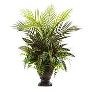 """Nearly Natural 27"""" Mixed Areca Palm, Fern and Peacock with Planter"""