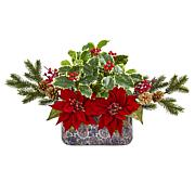 Nearly Natural Poinsettia Berry & Holly Artificial Arrangement in Vase