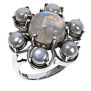 Nicky Butler Cultured Pearl and Moonstone Flower Ring