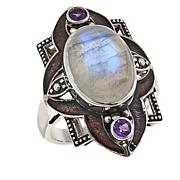 Nicky Butler Moonstone and Amethyst Sterling Silver Frame Ring