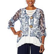 Nina Leonard 3/4-Sleeve Coconut Button Novelty Cardigan