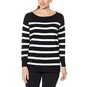 Nina Leonard Striped Jewel-Neck Pullover Sweater