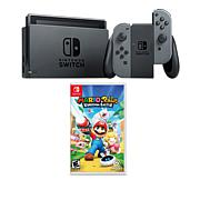 "Nintendo Gray Switch Bundle with ""Mario + Rabbids Kingdom Battle"" Game"
