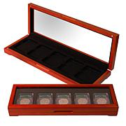 Oak Coin Display Box for 5 Slabbed Coins