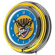 Oklahoma City Thunder Double Ring Neon Clock