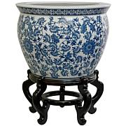 Oriental Furniture Floral Blue & White Fishbowl