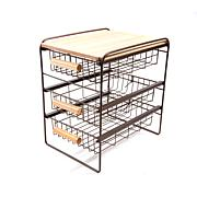Origami 3-Drawer Countertop Organizer with Wooden Shelf