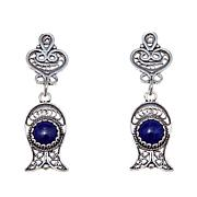 "Ottoman Silver Blue Lapis  ""Fish"" Drop Earrings"