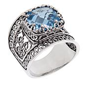 Ottoman Silver Jewelry Collection 4.8ct Blue Topaz Bold Filigree Ring