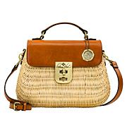 Patricia Nash Colimena Wicker and Leather Satchel