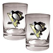 Pittsburgh Penguins 2pc Rocks Glass Set
