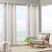Newport Printed Stripe Outdoor Panel Curtain - Coral & White