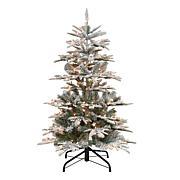 Puleo International 4.5' Pre-Lit Slim Flock Aspen Fir  Christmas Tree