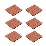 Pure Garden Interlocking Criss-Cross Pattern Outdoor Flooring Tiles