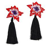 Rara Avis by Iris Apfel Beaded Flower Tassel Earrings