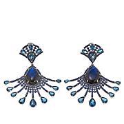 """Rarities """"Blue Sheen"""" Labradorite Multigem Fan-Design Earrings"""