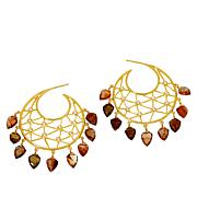 Rarities Gold-Plated Andalusite & White Zircon Crescent Hoop Earrings