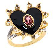 Rarities Gold-Plated Pink Tourmaline and Gemstone Heart Ring