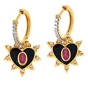 Rarities Gold-Plated Pink Tourmaline and Gemstone Heart Earrings