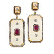 Rarities Gold-Plated Rock Crystal and Multigemstone Drop Earrings