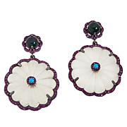 Rarities Sterling Silver Multi-Gemstone Flower Drop Earrings