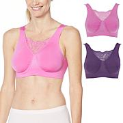 Rhonda Shear 2-pack Seamless Underwire Bra with Lace Inset