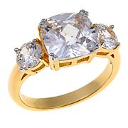 """R.J. Graziano """"Royal Touch"""" CZ Goldtone Cushion and Round 3-Stone Ring"""