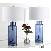 Safavieh Set of 2 Blue Bottle Glass Table Lamps