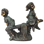 Santa's Workshop Boy and Girl On Teeter-Totter Statue