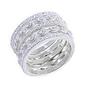 Sevilla Silver™ Set of 5 Diamond-Pressed Band Rings