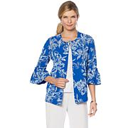 Slinky® Brand 3/4 Bell-Sleeve Puff Printed Textured Jacket