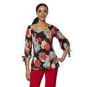 Slinky® Brand 3/4-Sleeve Printed Long Tunic with Ties