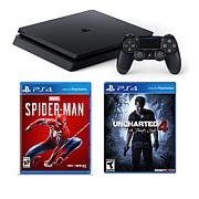 "Sony PlayStation 4 Slim 1TB Console with ""Spider-Man"" & ""Uncharted 4"""