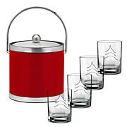 Sophisticates 3-Quart Ice Bucket and 4 Glasses - Red