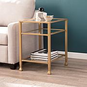 Southern Enterprises Dina Metal/Glass End Table - Gold