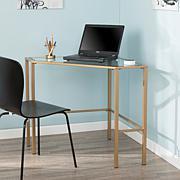 Southern Enterprises Linklater Metal/Glass Corner Desk - Gold