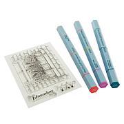 Spectrum Noir Summer Picnic Tri-Color Aqua Marker & Stamp Set