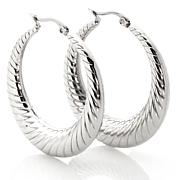 "Stately Steel 1-1/2"" Graduated Textured Hoop Earrings"