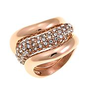 Stately Steel Curvy Crystal 3-piece Stackable Ring Set