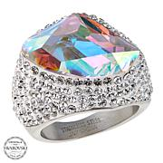 Stately Steel Multicolored and Clear Crystal Ring
