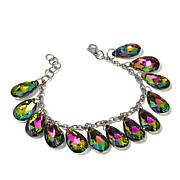 "Stately Steel Pear-Shaped Crystal Drop 7-1/2"" Bracelet"