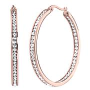 Stately Steel Round Inside-Outside Pavé Hoop Earrings