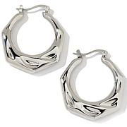 Stately Steel Wave-Textured Hoop Earrings