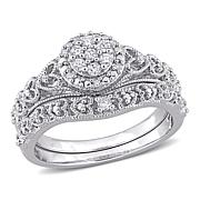 Sterling Silver 0.20ctw Diamond Cluster Bridal Ring 2-piece Set