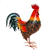 """The Gerson Company 33.75""""H Metal Garden Rooster Statue"""