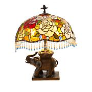 Tiffany-Style Elephant Rose Beaded Table Lamp